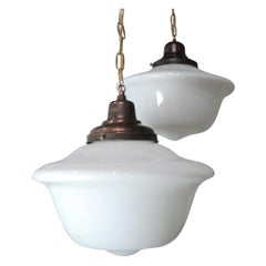 1920 Large Schoolhouse Milk Glass Pendant Lights