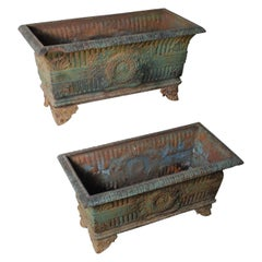 1920 Pair of Cast Iron Planter Boxes