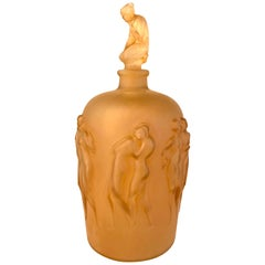 1920 Rene Lalique 12 Figurines avec Bouchon Figurine Vase Glass & Sepia Patina