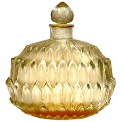 1920 René Lalique Amelie Perfume Bottle Frosted Glass with Sepia Patina, Leaves