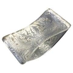 1920 René Lalique Blotter Feuilles D'Artichaut Frosted Glass, Artichoke Leaves