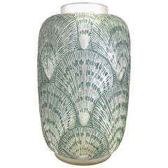 1920 René Lalique Coquille Vase in Frosted Glass with Blue Stain