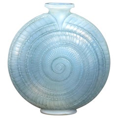 1920 René Lalique Escargot Vase in Double Cased Opalescent Glass with Blue Stain