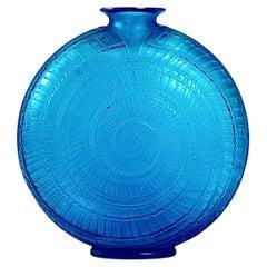 1920 René Lalique Escargot Vase in Electric Blue Glass