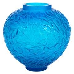 1920 René Lalique Gui Vase Electric Blue Glass Mistletoe