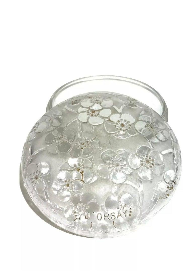 Art Deco 1920 René Lalique Le Lys for D'Orsay Set Perfume Bottle and Box Clear Glass For Sale