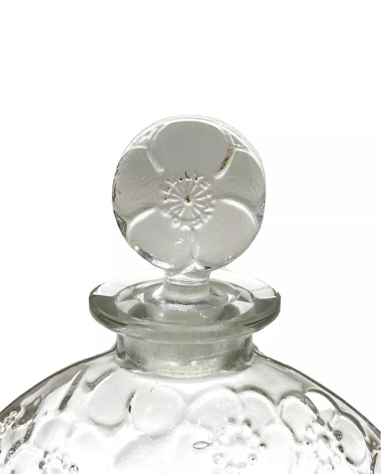 Blown Glass 1920 René Lalique Le Lys for D'Orsay Set Perfume Bottle and Box Clear Glass For Sale