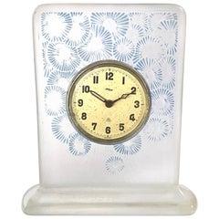 1920 René Lalique Marguerites Clock Clear Glass Blue Patina Mechanical Movement