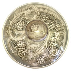1920 Rene Lalique Mures Inkwell Grey Stained Glass, Blueberries
