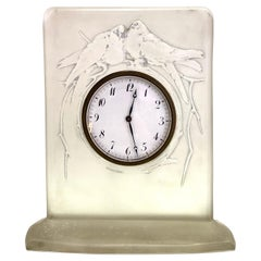 1920 René Lalique Pigeons Clock Grey-Blue Stained Glass Mechanical Movement