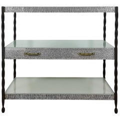 1920´S Center Shelving Unit, Wrought Iron, Metal, Brass and Glass, France