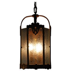 1920 Solid Bronze American Lantern Art Deco Pendant Light