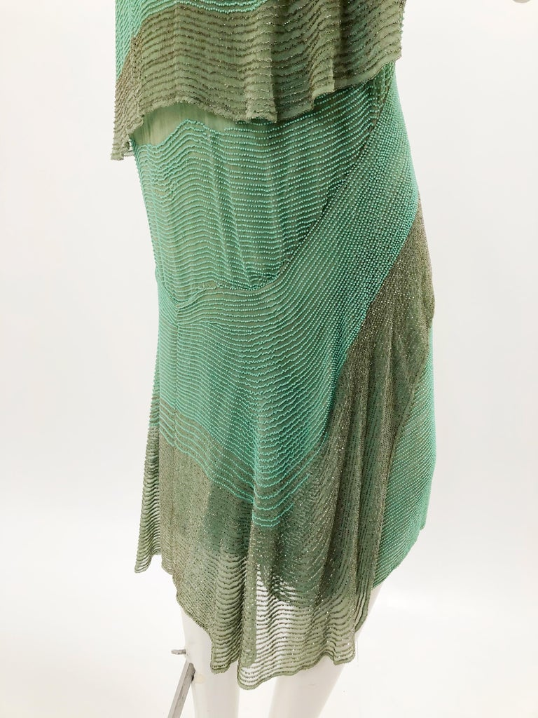 1920 Style Design Sea-Foam Silk Chiffon & Gold Beaded Flapper Dress In Excellent Condition For Sale In San Francisco, CA