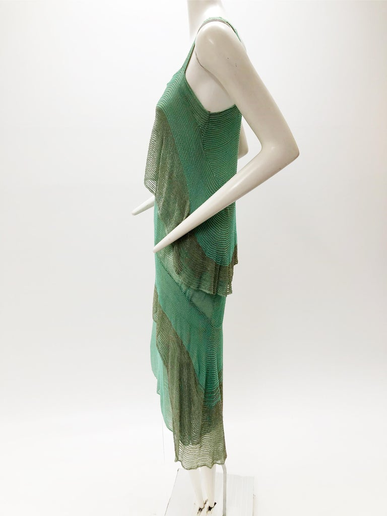 Women's 1920 Style Design Sea-Foam Silk Chiffon & Gold Beaded Flapper Dress For Sale