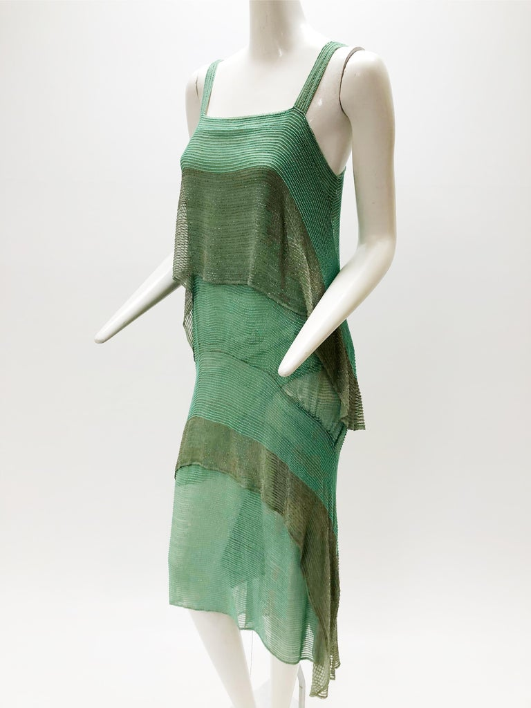 1920 Style Design Sea-Foam Silk Chiffon & Gold Beaded Flapper Dress For Sale 1