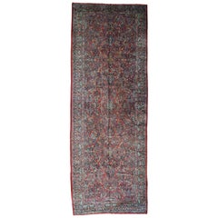 1920 Vintage Hand Knotted Persian Sarouk Gallery Size Rug
