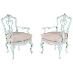Italian Painted and Parcel-Gilt Fauteuils in the Rococo Style