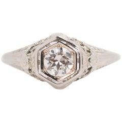1920s 0.50 Carat Old European Diamond 18 Karat White Gold Engagement Ring