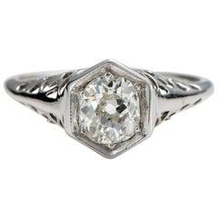 1920s 0.97 Carat Old Cut Cushion Diamond Engagement Ring, 14 Karat Gold