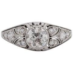 1920s 1 Carat Total Old European Diamond Platinum Engagement Ring