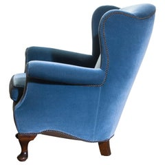 1920s, 1 Hollywood Regency Blue Velvet Wingback Club Lounge Armchair, Sweden