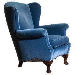 1920s, 1 Hollywood Regency Blue Velvet Wingback Club / Lounge Chair, Sweden