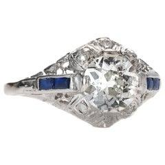 1920s 1.04 Carat Old Mine Diamond Engagement Ring