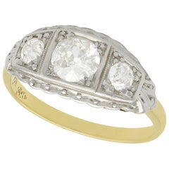 1920s 1.15 Carat Diamond and Yellow Gold Cocktail Ring