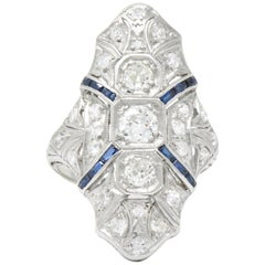 1920s 1.15 Carat Diamond Sapphire Platinum Art Deco Dinner Ring