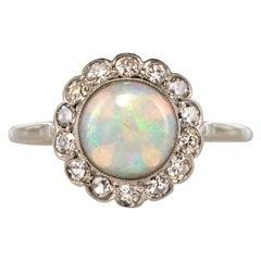 1920s 1.20 Carat Opal Diamonds Platinum Daisy Ring