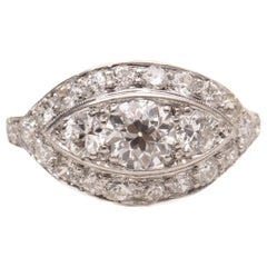 1920s 1.25 Carat Total Diamond Platinum Engagement Ring