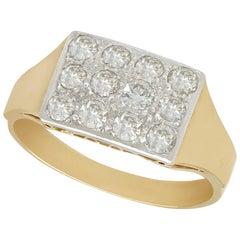 1920s 1.28 Carat Diamond Yellow Gold Gent's Ring