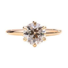 1920s 1.29 Carat Old European Diamond Engagement Ring