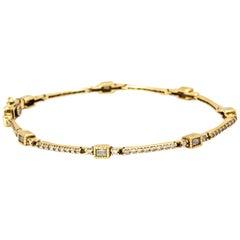 1920s 14 Karat Yellow Gold Diamond Bracelet