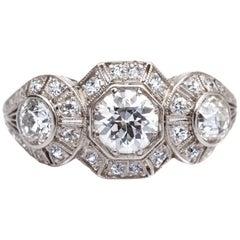 1920s 1.40 Carat Total 3-Stone Diamond Platinum Engagement Ring