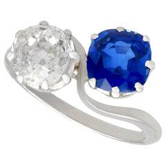 1920s 1.45 Carat Diamond 1.58 Carat Sapphire Platinum Twist Ring