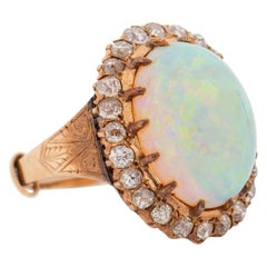 1920s 15 Carat Opal Ring with Diamonds, 14 Karat Gold