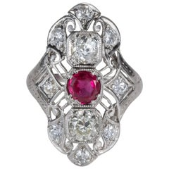 1920s 1.5 Carat Total Old Miner Diamond and Red Glass Platinum Shield Ring