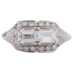 1920s 1.50 Carat Total Emerald Diamond Engagement Ring, Platinum