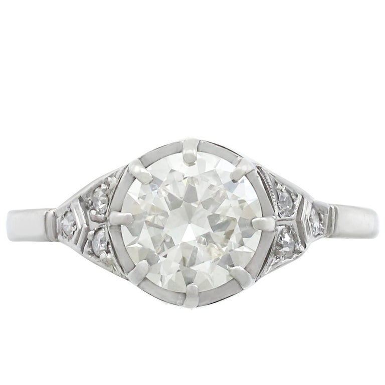 1920's 1.60 Carat Diamond and White Gold Solitaire Ring