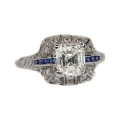 1920s 1.66 Carat Asscher Cut Diamond and Sapphire Engagement Ring, 18 Karat Gold
