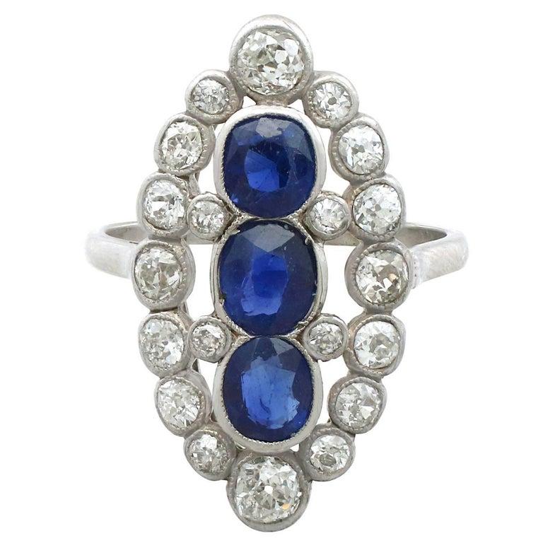 1920s 1.77 Carat Sapphire & 1.86 Carat Diamond Platinum Marquise Cocktail Ring
