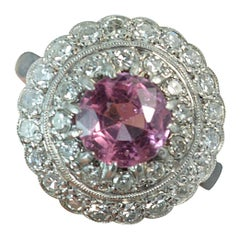 1920s 18 Carat Gold and Platinum Spinel and Diamond Target Halo Cluster Ring