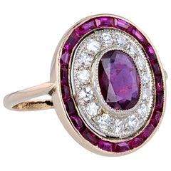 1920s 18 Carat Rose Gold Platinum Ruby Diamond Cluster Ring