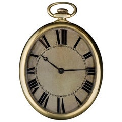 1920s 18 Karat Yellow Gold Silver Roman Dial Vintage Pocket Watch