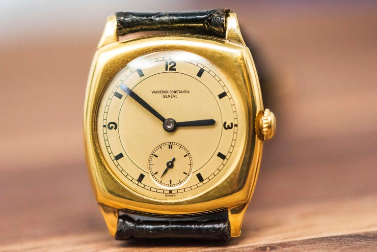 18 Karat Yellow Gold Vacheron Constantin Sector Dial Officers Cushion Wristwatch For Sale 5