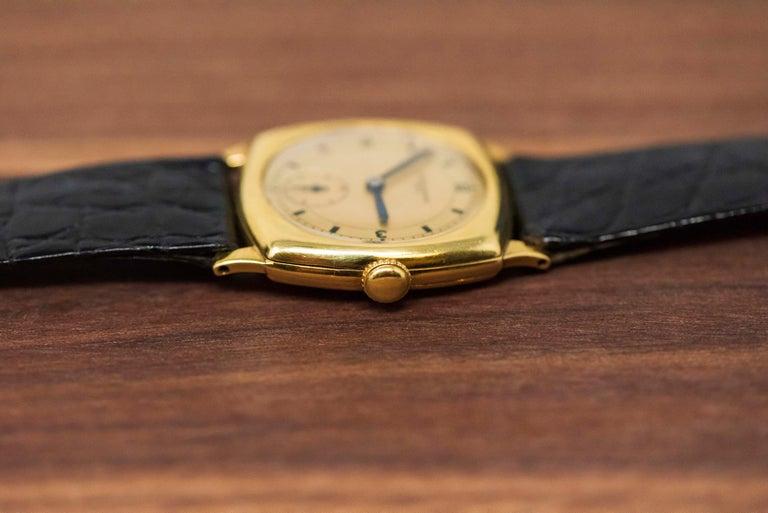 18 Karat Yellow Gold Vacheron Constantin Sector Dial Officers Cushion Wristwatch For Sale 7