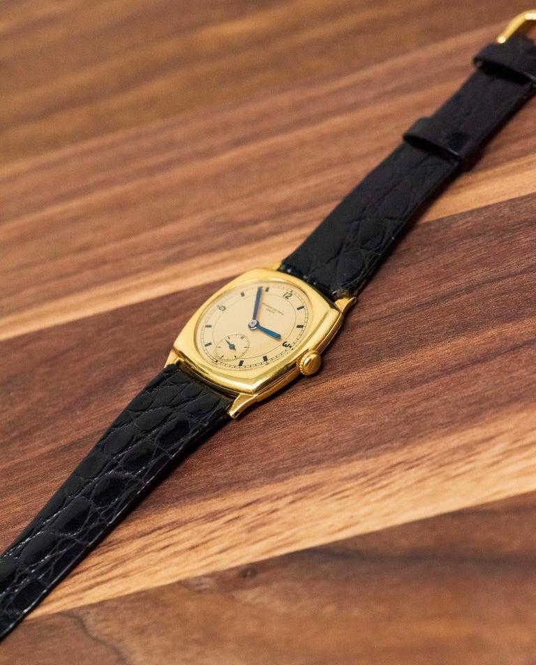18 Karat Yellow Gold Vacheron Constantin Sector Dial Officers Cushion Wristwatch For Sale 9