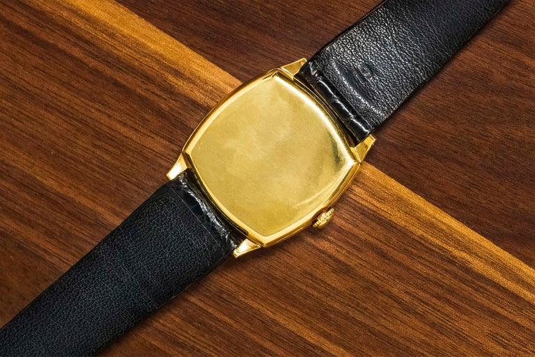 18 Karat Yellow Gold Vacheron Constantin Sector Dial Officers Cushion Wristwatch For Sale 10