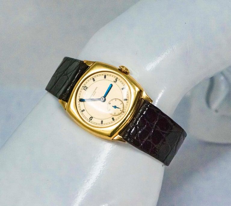 18 Karat Yellow Gold Vacheron Constantin Sector Dial Officers Cushion Wristwatch For Sale 11